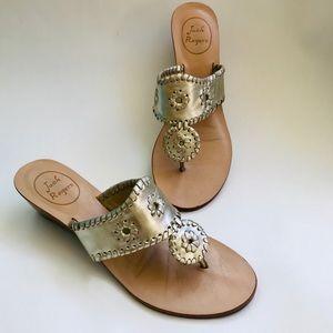 Jack Rogers | Silver Wedge Slide Sandals